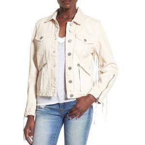 BlankNYC White fringe denim jacket